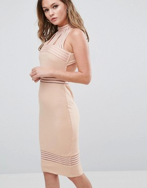 photo High Neck Midi Dress with Sheer Pannels by Ginger Fizz, color Nude - Image 1