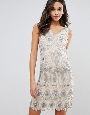 photo Sequin Embellished Mini Dress by Frock and Frill, color Nude/Silver - Image 1