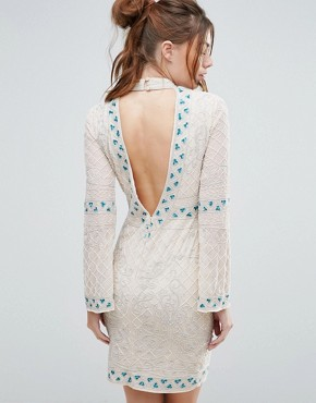 photo Choker Detail Embellished Mini Dress by Frock and Frill, color Cream - Image 2