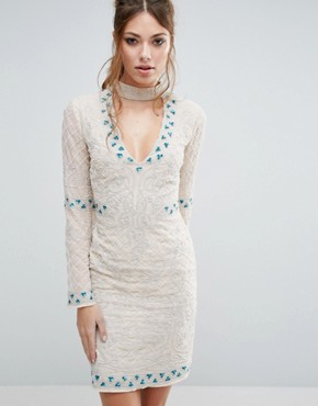 photo Choker Detail Embellished Mini Dress by Frock and Frill, color Cream - Image 1