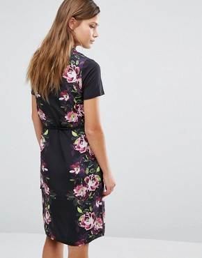 photo Floral Satin Tie Front Shift Dress by Oasis, color Black Multi - Image 2