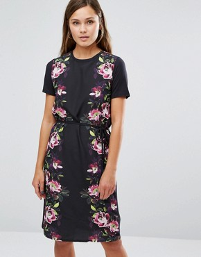 photo Floral Satin Tie Front Shift Dress by Oasis, color Black Multi - Image 1