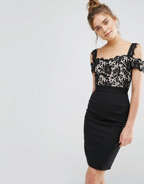 photo 2 In 1 Lace Pencil Dress by Paper Dolls, color Black/Nude - Image 1