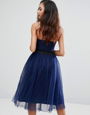 photo Strapless Midi Dress With Tulle Skirt by Rare London, color Navy - Image 2