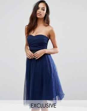 photo Strapless Midi Dress With Tulle Skirt by Rare London, color Navy - Image 1