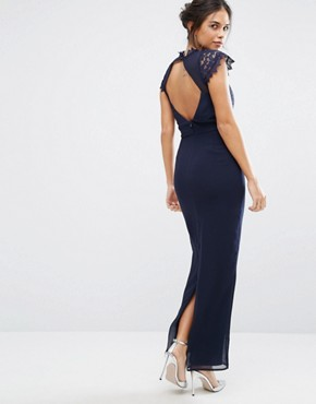 photo Maxi Dress with Delicate Lace Trim by Elise Ryan, color Navy - Image 2