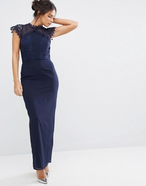 photo Maxi Dress with Delicate Lace Trim by Elise Ryan, color Navy - Image 1