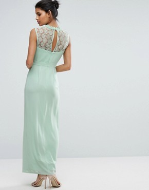 photo Sleeveless Maxi Dress with Contrast Lace Bodice by Elise Ryan, color Misty Jade - Image 2
