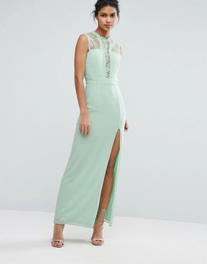 photo Sleeveless Maxi Dress with Contrast Lace Bodice by Elise Ryan, color Misty Jade - Image 1