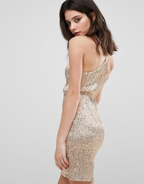 photo All Over Sequin Mini Dress by New Look Petite, color Gold - Image 2