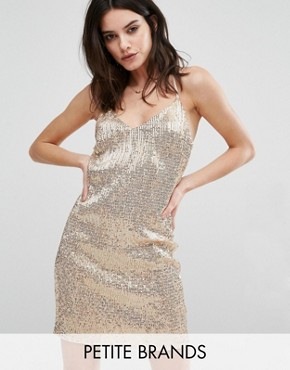 photo All Over Sequin Mini Dress by New Look Petite, color Gold - Image 1