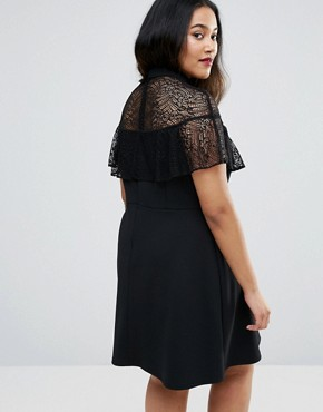 photo High Neck Dress with Lace Frill Detail by ASOS CURVE, color Black - Image 2