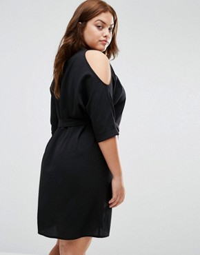 photo Embrodiered Cold Shoulder Shirt Dress by New Look Plus, color Black - Image 2