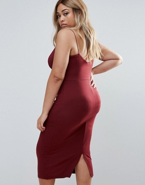 photo Bodycon Midi Dress With Seam Detail by ASOS CURVE, color Oxblood - Image 2