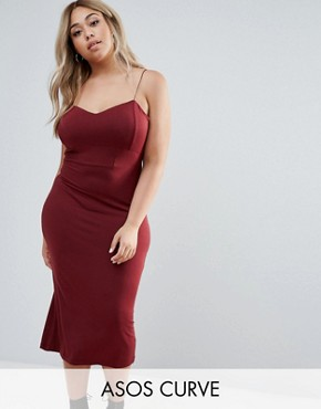 photo Bodycon Midi Dress With Seam Detail by ASOS CURVE, color Oxblood - Image 1