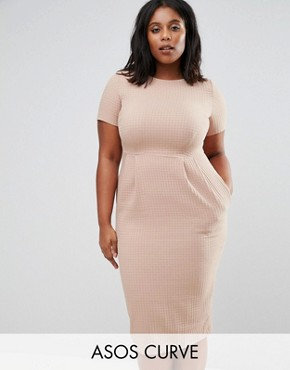 photo Midi Wiggle Dress in Texture by ASOS CURVE, color Taupe - Image 1
