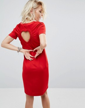 photo Dress with Cut Out Heart Back by Love Moschino, color Red - Image 1