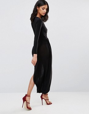 photo Long Sleeve Asymmetric Dress by Rare London, color Black - Image 2