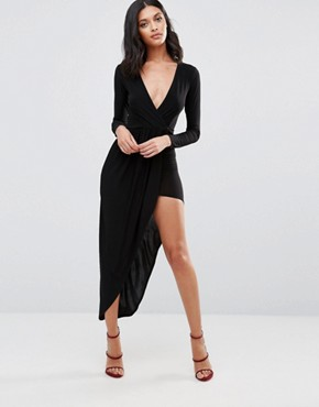 photo Long Sleeve Asymmetric Dress by Rare London, color Black - Image 1