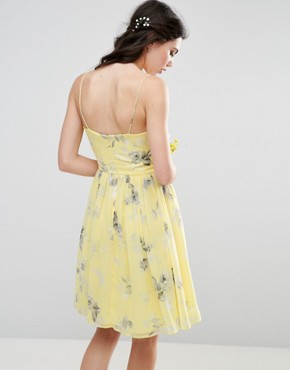 photo Rouched Midi Dress in Sunshine Floral Print by ASOS TALL WEDDING, color Yellow Print - Image 2