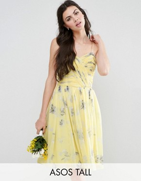 photo Rouched Midi Dress in Sunshine Floral Print by ASOS TALL WEDDING, color Yellow Print - Image 1