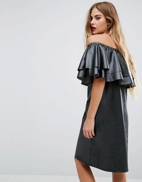 photo Faux Leather Ruffle Bardot Dress by First & I, color Black - Image 2