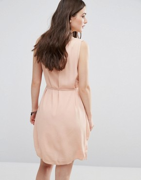 photo V Neck Sleeveless Shift Dress by Vila, color Rugby Tan - Image 2
