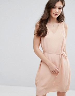 photo V Neck Sleeveless Shift Dress by Vila, color Rugby Tan - Image 1