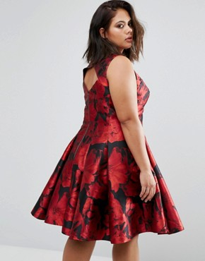 photo Monique Rose Print Dress by Coast Plus, color Red - Image 2