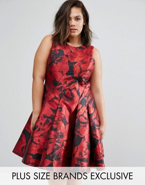 photo Monique Rose Print Dress by Coast Plus, color Red - Image 1