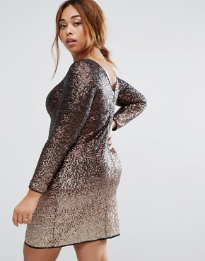 photo Demi May Long Sleeve Sequin Ombre Dress by Coast Plus, color Gold - Image 2