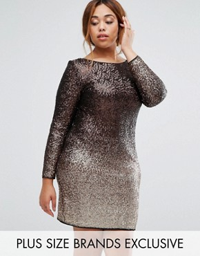 photo Demi May Long Sleeve Sequin Ombre Dress by Coast Plus, color Gold - Image 1