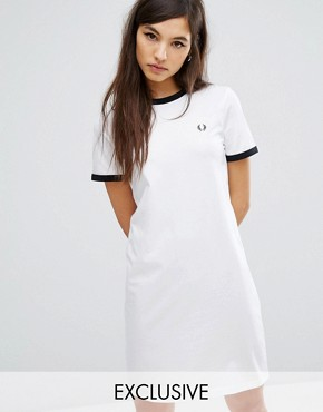 photo Archive Ringer T-shirt Dress by Fred Perry, color White - Image 1