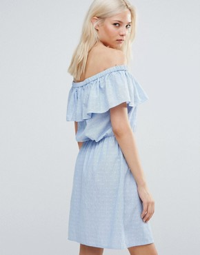 photo Ruffle Off The Shoulder Dress by Vero Moda, color Blue - Image 2