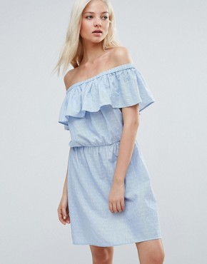 photo Ruffle Off The Shoulder Dress by Vero Moda, color Blue - Image 1