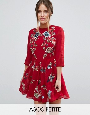 photo Mini Skater Dress with Floral Embroidery by ASOS PETITE Premium, color Red - Image 1
