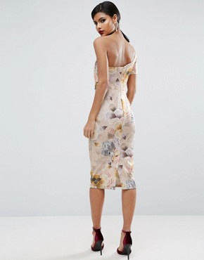 photo Tapestry Floral Bow One Shoulder Midi Dress by ASOS, color  - Image 2