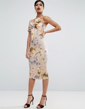 photo Tapestry Floral Bow One Shoulder Midi Dress by ASOS, color  - Image 1