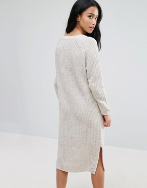 photo Midi Dress in Chunky Knit by ASOS PETITE, color Oatmeal - Image 2