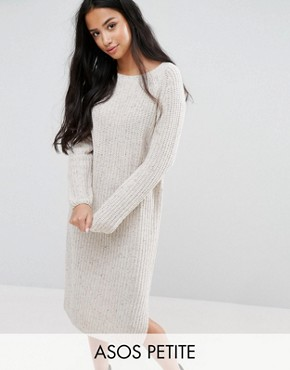 photo Midi Dress in Chunky Knit by ASOS PETITE, color Oatmeal - Image 1