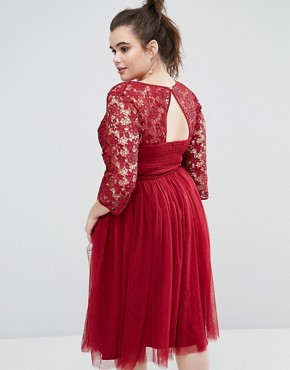 photo Short Sleeve Lace Bodice Midi Dress With Tulle Skirt by Little Mistress Plus, color Burgundy - Image 2