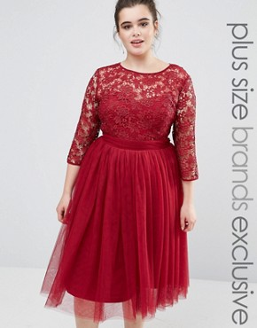 photo Short Sleeve Lace Bodice Midi Dress With Tulle Skirt by Little Mistress Plus, color Burgundy - Image 1