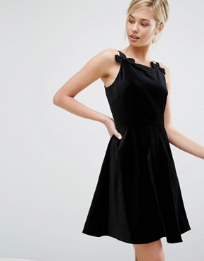 photo Velvet Skater Dress with Bow detail by Ted Baker, color Black - Image 1