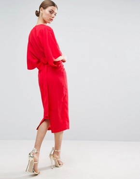 photo Kimono Plunge Midi Dress by ASOS, color Bright Red - Image 2