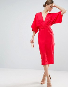 photo Kimono Plunge Midi Dress by ASOS, color Bright Red - Image 1
