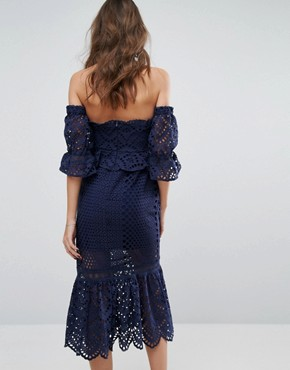 photo Pure Eyelet Off The Shoulder Dress by Foxiedox, color Navy - Image 2