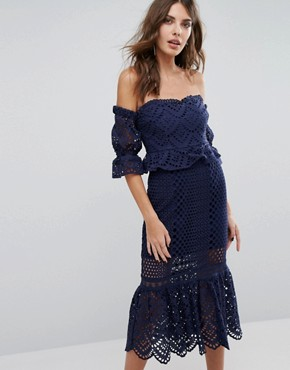 photo Pure Eyelet Off The Shoulder Dress by Foxiedox, color Navy - Image 1