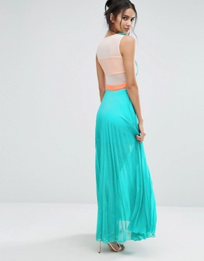 photo Neontown Pleated Maxi Dress by Jovonna, color Turquoise - Image 2