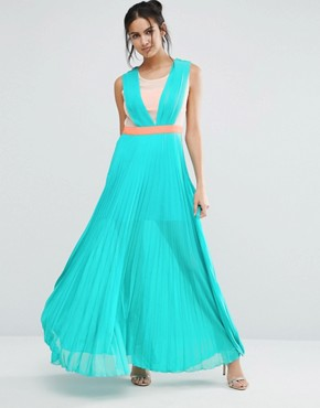 photo Neontown Pleated Maxi Dress by Jovonna, color Turquoise - Image 1