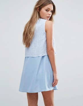 photo Girl Gang Shift Dress with Overlay Top by Jovonna, color Blue - Image 2